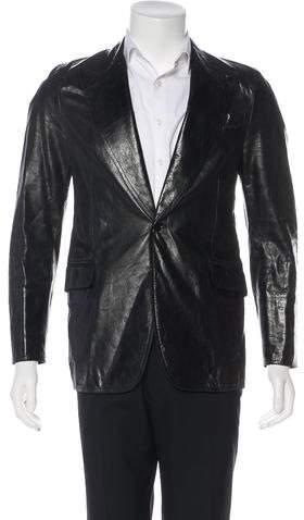 CNC Costume National Leather Notched Lapel Blazer