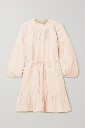Apiece Apart Victoria Belted Gathered Ruffled Cotton-gauze Mini Dress - Blush