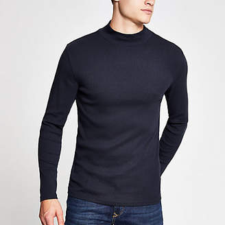 River Island Navy turtle neck long sleeve slim fit T-shirt