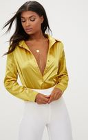 PrettyLittleThing Chartreuse Satin Button Front Shirt