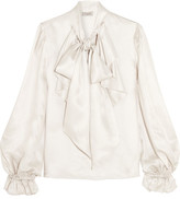 Temperley London Atlas Pussy-bow Ruffled Silk-twill Blouse - Light gray