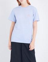 Stussy Ladies Baby Blue Printed Logo-Print Cotton-Jersey T-Shirt