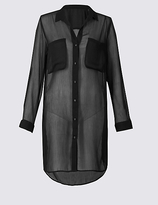 M&S Collection Chiffon Long Sleeve Shirt Dress