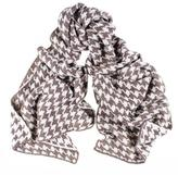 Black Brown and Ivory Houndstooth Cashmere Knitted Scarf