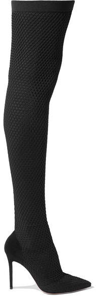 Gianvito Rossi 105 Suede And Honeycomb-knit Over-the-knee Sock Boots - Black