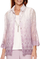 Alfred Dunner Lavender Fields 3/4-Sleeve Burnout Layered Shirt