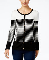 Karen Scott Petite Resort Striped Cardigan, Only at Macy's