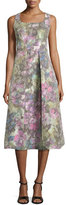 Kay Unger New York Sleeveless Muted Floral-Print Dress