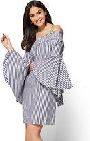 New York & Co. Off-The-Shoulder Smocked Poplin Dress