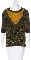 Alberta Ferretti Feather Print Wool Top