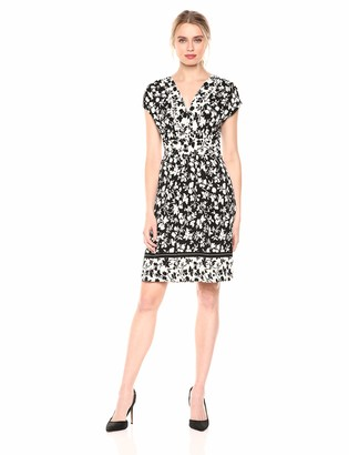 Lark & Ro Amazon Brand Women's Sleeveless V-Neck Dress Black/White Print Small