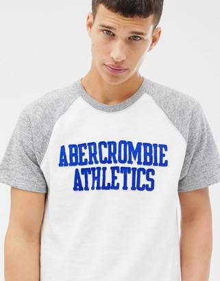 Abercrombie & Fitch chest logo baseball t-shirt in white/gray