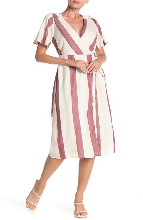 Dee Elly Striped Wrap Midi Dress