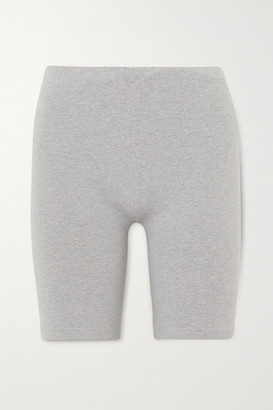 Les Girls Les Boys Embroidered Stretch Cotton-jersey Shorts - Gray