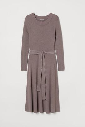 H&M Rib-knit Dress - Brown