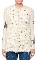 Valentino Shearling Fur Vest w/Star Embellishments, Natural