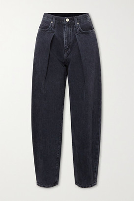 Gold Sign Net Sustain The Pleat Curve Cropped High-rise Tapered Jeans - Dark gray