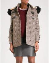 Maje Galou faux-fur trimmed checked cotton-blend coat