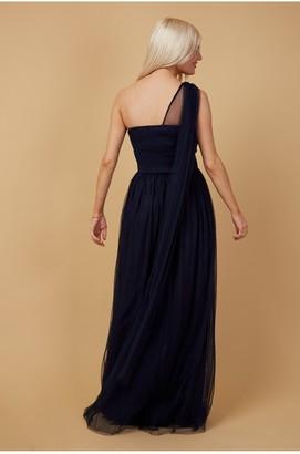 Little Mistress Bridesmaid Karter Navy Bow Detail One-Shoulder Maxi Dress
