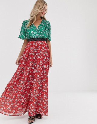 Twisted Wunder chiffon midaxi dress in mix and match floral print
