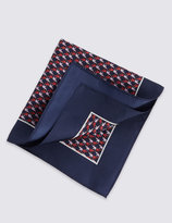 Marks And Spencer Pure Silk Elephant Print Pocket Square