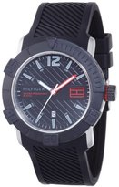 Tommy Hilfiger Men's 1790735 Sport Black Dial Black Silcon Strap with Date Function Watch