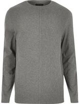 River Island MensGrey textured block sweatshirt