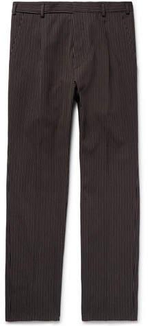 Bottega Veneta Slim-Fit Pleated Striped Cotton and Wool-Blend Trousers - Men - Navy