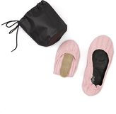 CitySlips Pink Knit Foldable Ballet Flat & Carrying Case