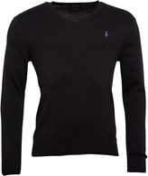Polo Ralph Lauren Mens V-Neck Slim Fit Pima Cotton Jumper Polo Black