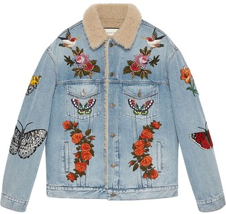 Gucci Embroidered denim jacket with shearling