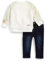 Hudson Infant Girl's Fleece Sweatshirt & Jeans Set