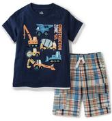 Kids Headquarters Navy 'Construction' Tee & Plaid Shorts - Infant Toddler & Boys