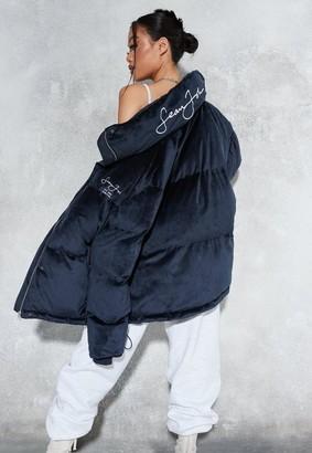 Missguided Sean John X Navy Premium Velour Oversized Puff-A Coat