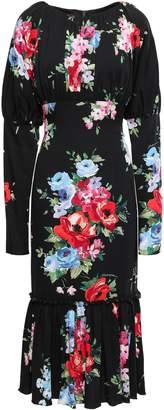 Dolce & Gabbana Floral-print Stretch-silk Crepe De Chine Midi Dress