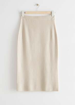 And other stories Fitted Knitted Pencil Midi Skirt