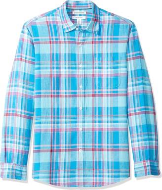 Amazon Essentials Regular-Fit Long-Sleeve Plaid Linen Shirt Button