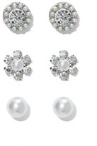 New York & Co. 3-Piece Faux-Pearl Post Earring Set