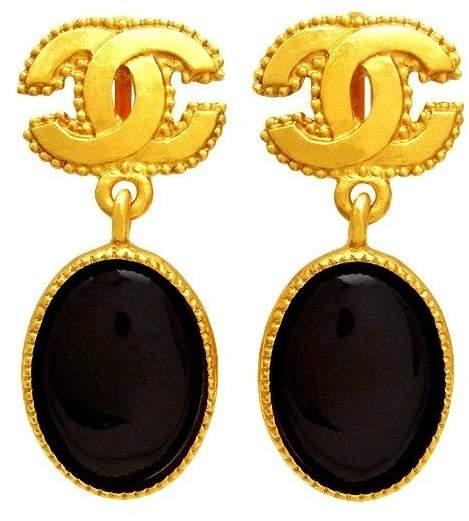 Chanel CC Logo Gold Tone Metal Black Stone Dangle Earrings