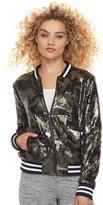 madden NYC Juniors' Sequin Camo Bomber Jacket