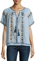Calypso St. Barth Alberdi Embroidered Short-Sleeve Blouse, Chambray