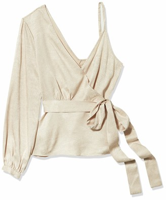 BCBGMAXAZRIA Women's One Shoulder Long Sleeve Wrap Top
