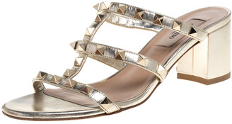 Valentino Gold Leather Rockstud Block Heel Slides Size 36