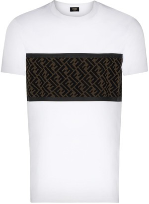Fendi flocked mesh-panelled T-shirt
