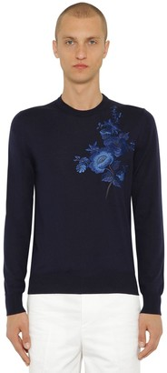 Alexander McQueen Embroidered Wool Knit Sweater