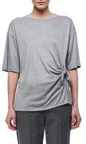 Victoria Victoria Beckham Knotted-Side Cotton T-Shirt, Light Gray