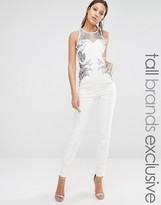 Little Mistress Tall Jumpsuit With Lace Print And Mesh Detail