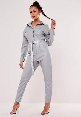 Missguided Gray Faux Leather Popper Romper