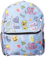 Fab Emoji Denim Sticker Backpack.