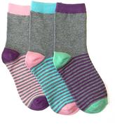 LittleMissMatched Heather Gray & Purple Stripe Socks Set